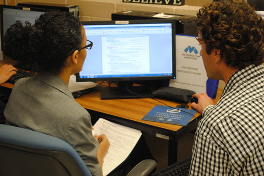 The Metropolitan Ministries Employment Lab helps people obtain email accounts and write resumes.