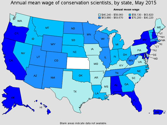 Conservation scientists earn higher salaries in Florida.