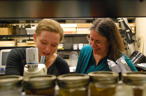 Dr. Melanie Riedinger-Whitmore, right, with Biology Major Christine Leonard.