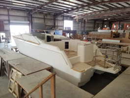A catamaran under construction
