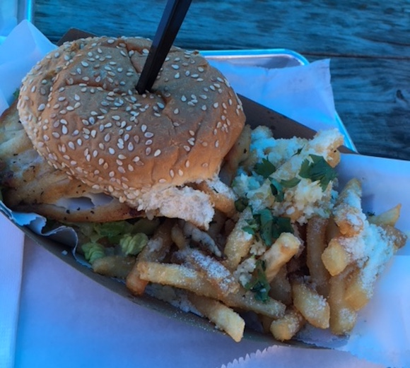 Signature grouper sandwich and fries at Big Ray's Fish Camp in South Tampa
