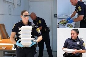Clearwater Police thank the community on Facebook for bringing meals.