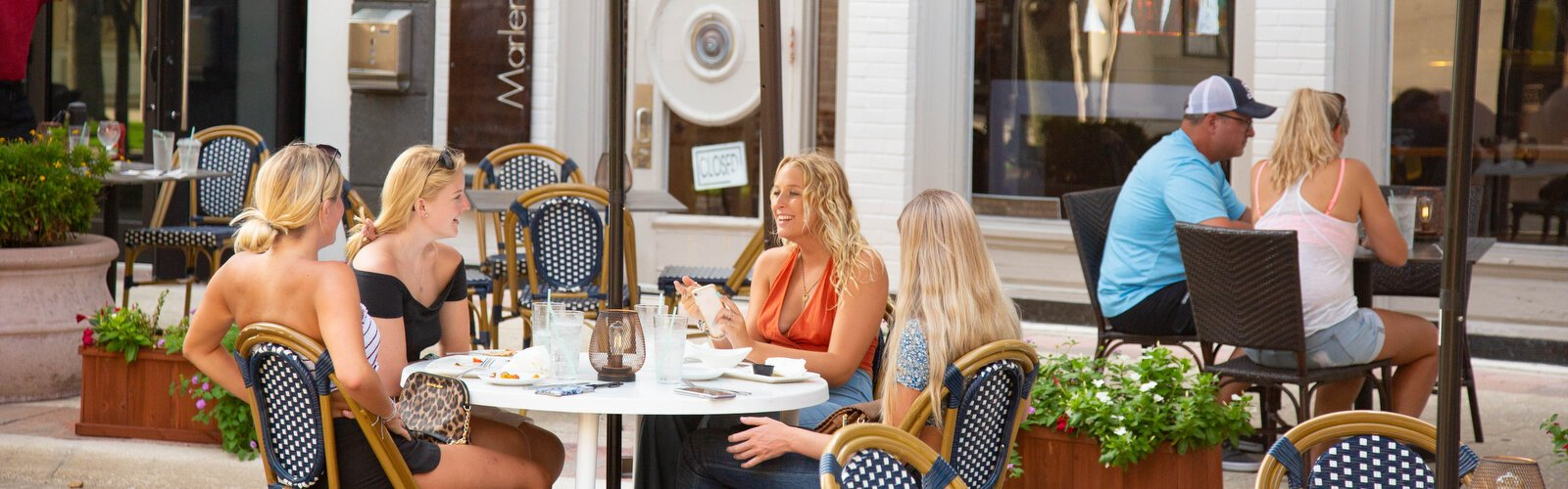 Guests dine out in downtown Clearwater where outdoor seating has been expanded, part of Clearwater's Summer 2020 Dine in Downtown Program.