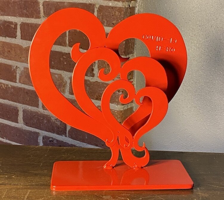 No two COVID-19 Hero heart sculptures will be the same.