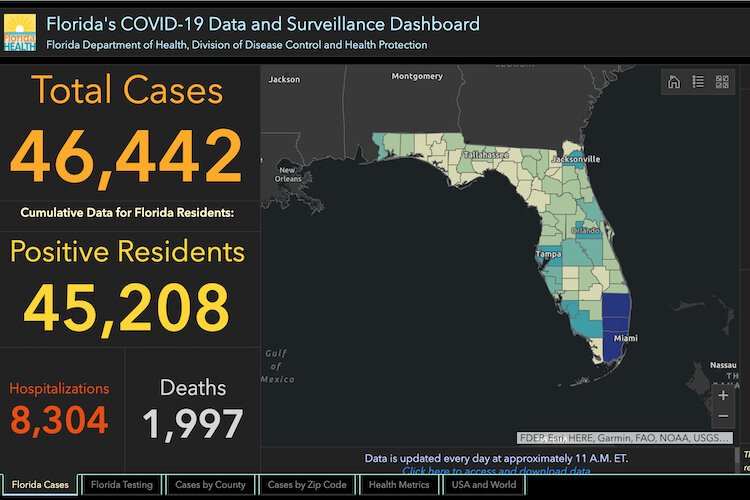 COVID-19 cases in Florida as of May 18, 2020.