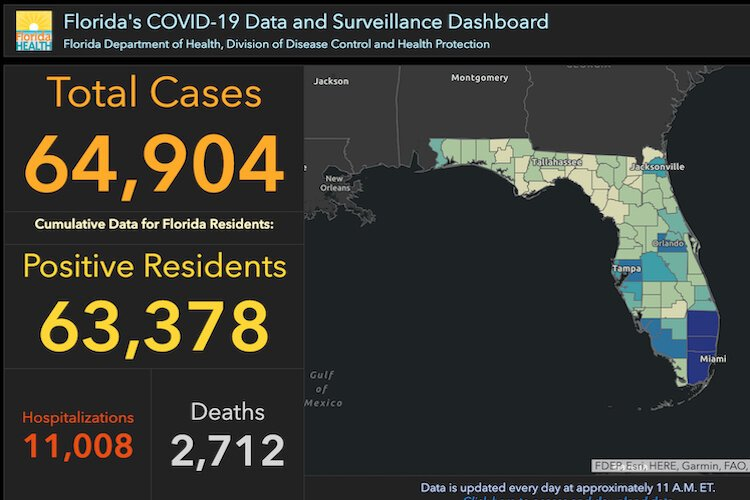Florida COVID-19 cases as of June 8, 2020.