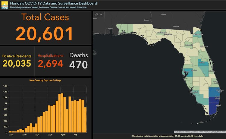 Florida COVID-19 cases as of April 13, 2020.