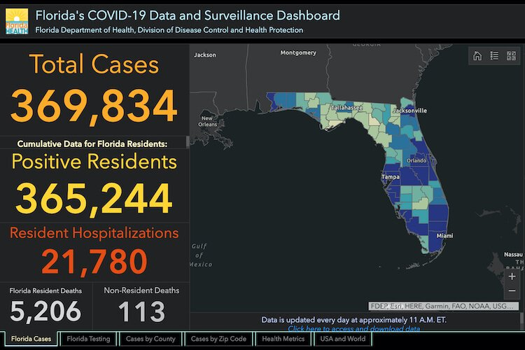 COVID-19 cases in Florida as of July 21, 2020.