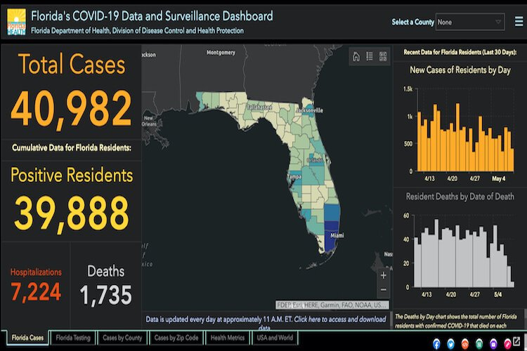 Florida COVID-19 cases as of May 11, 2020