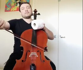 Toilet tissue and a sense of humor help TFO Cellist Doniyor Zuparov survive social distancing.