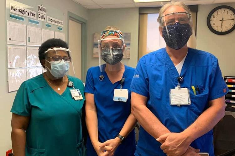 Health care professionals guard against contracting COVID-19 by wearing personal protective equipment.