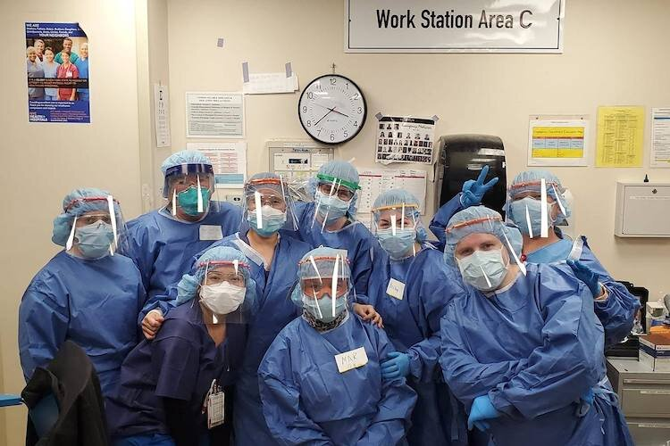 Face shields made by Emma Quintana as worn by doctors and nurses at Tampa Bay Area hospitals.