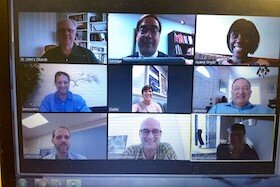 An online meetup of St. John's staff on Zoom.