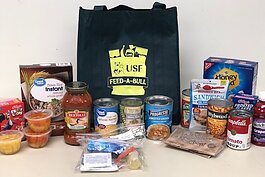 Sample contents of Feed-A-Bull bags for hungry students.