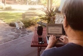 Palladium Executive Director Paul Wilborn works from home during the coronavirus outbreak.