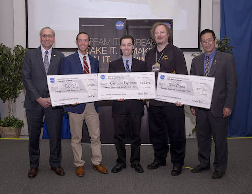 Wes Faler, second from right, leads Tampa Team Miles in NASA's Cube Quest Challenge
