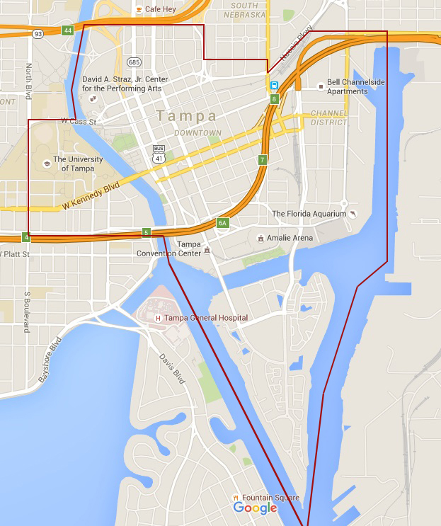 downtown tampa florida map