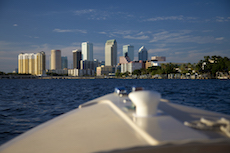 Tampa skyline from e-boat