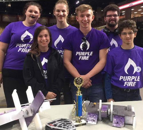 Florida Polytechnic's Purple Fire Robotics Club is invited to compete in Techfest at the Indian Institute of Technology in Bombay in 2021. Back: Rachael Stanley, Reid Canyon Kauffman, Matt Lydon. Front: Alexandra Dubs, Jacob Rogers, Antonio Varela.
