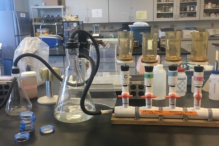 The lab used to analyze microplastics found in Tampa Bay.