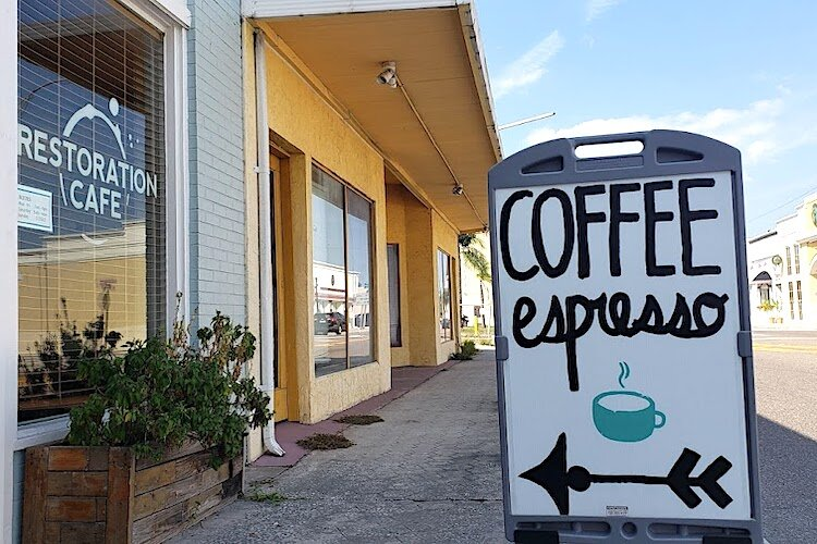 Fresh brewed coffee from primarily Central American beans are featured at Restoration Cafe in downtown Clearwater.