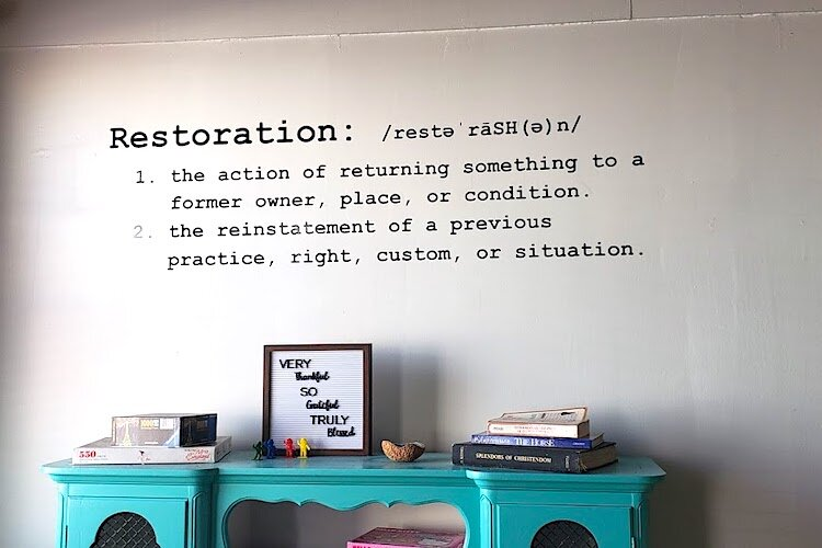 Restoration Cafe doubles as a Christian place of worship on Sunday mornings.