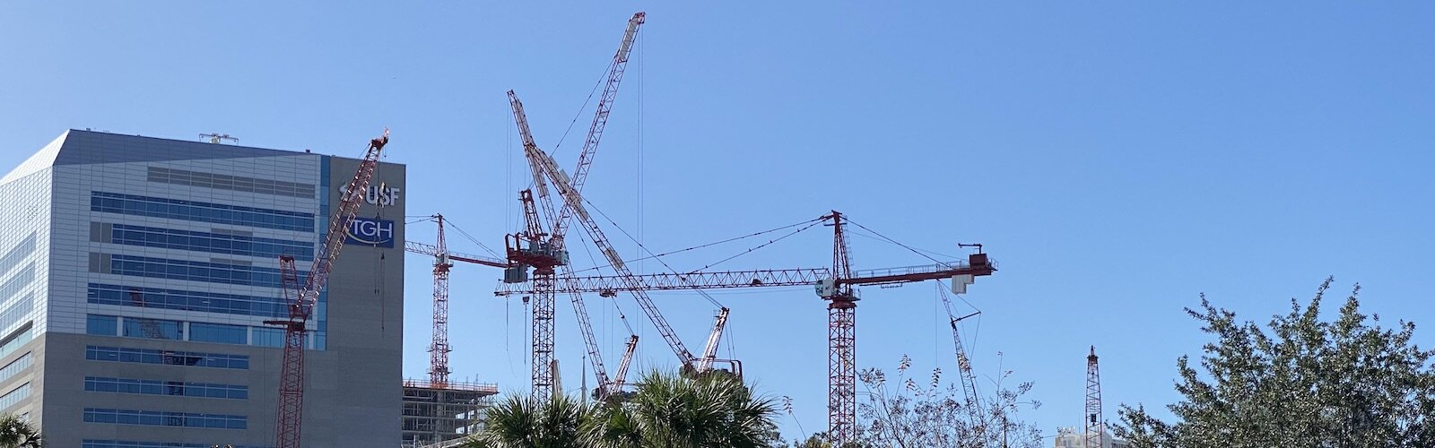 Construction cranes surrounding the new USF Health College of Medicine in downtown Tampa.