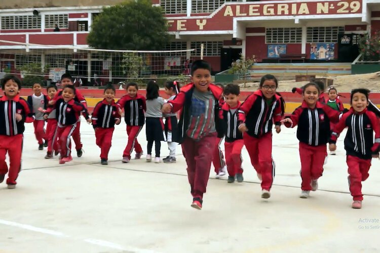 Students at a school in Peru that will be participating in the TKIBA education curriculum.