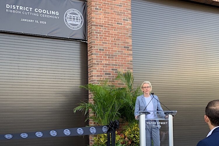 Tampa Mayor Jane Castor talks about the many innovative solutions the District Cooling plant offers the Water Street community.