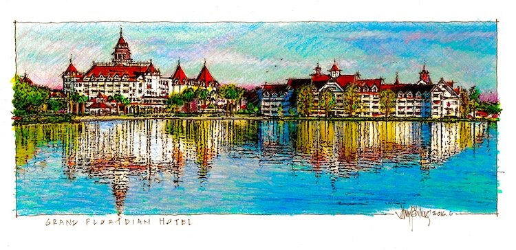 Grand Floridian Hotel at Disney World sketch by John Pehling.