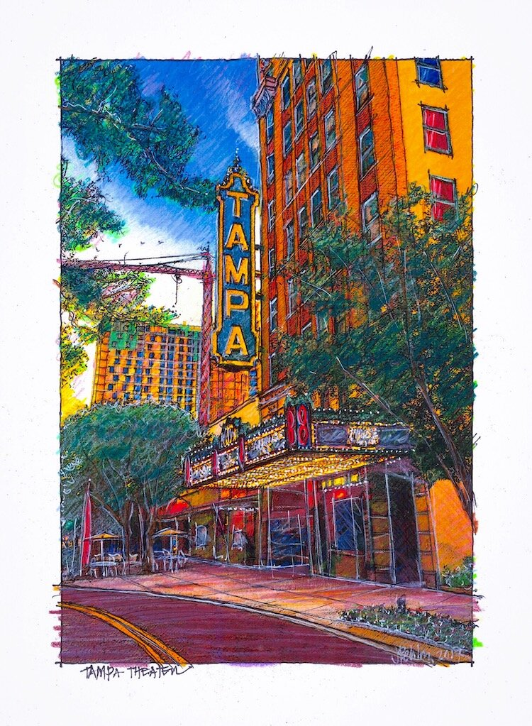 Tampa Theatre sketch by John Pehling.