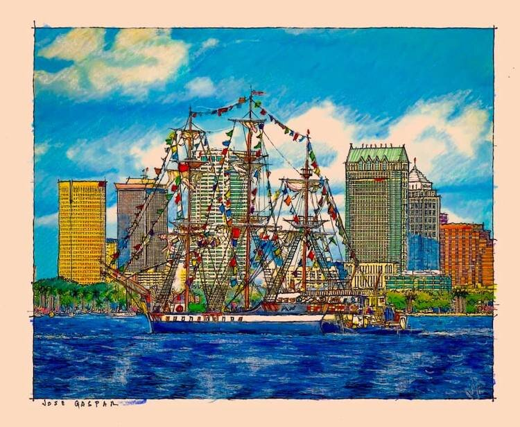 A Gasparilla pirate ship invades downtown Tampa sketch by John Pehling.