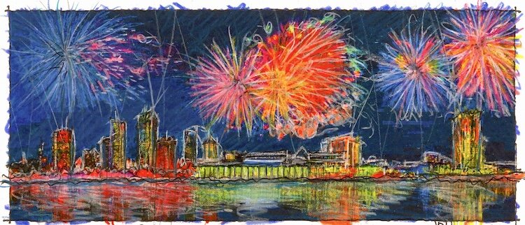 Fireworks over Tampa sketch by John Pehling.