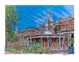 University of Tampa minarets sketch by John Pehling.