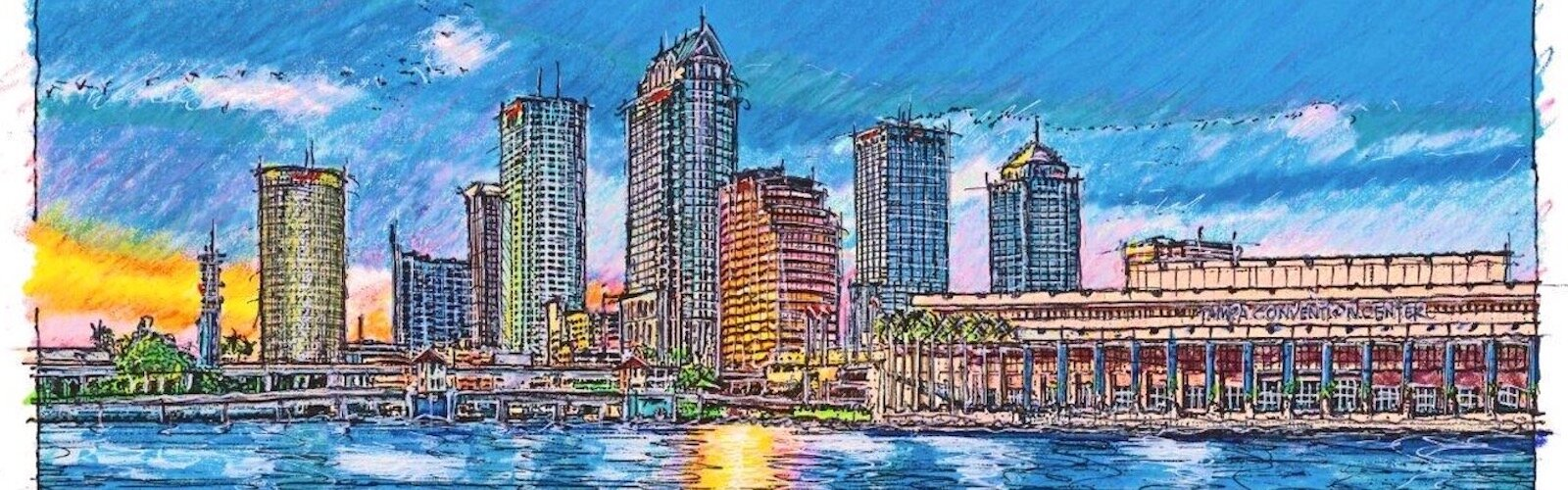 Downtown Tampa skyline sketched by John Pehling.