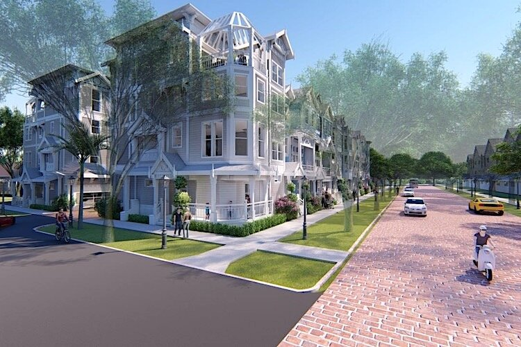 Artist's rendering of new townhome project in Tampa Heights.