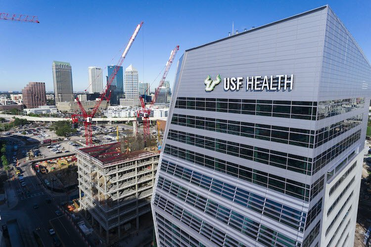 A drone's-eye view of the new USF Health Morsani College of Medicine and Heart Institute in downtown Tampa.