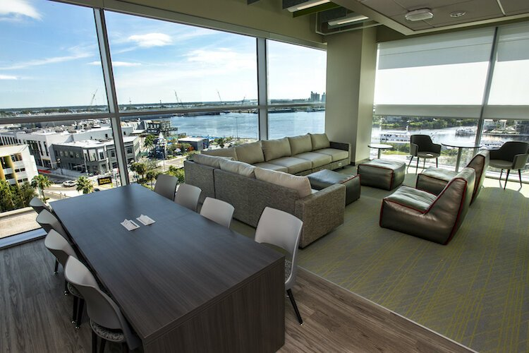 Classrooms and meeting spaces at the new medical school feature spectacular views of downtown Tampa, Davis Islands, and the Channel District.