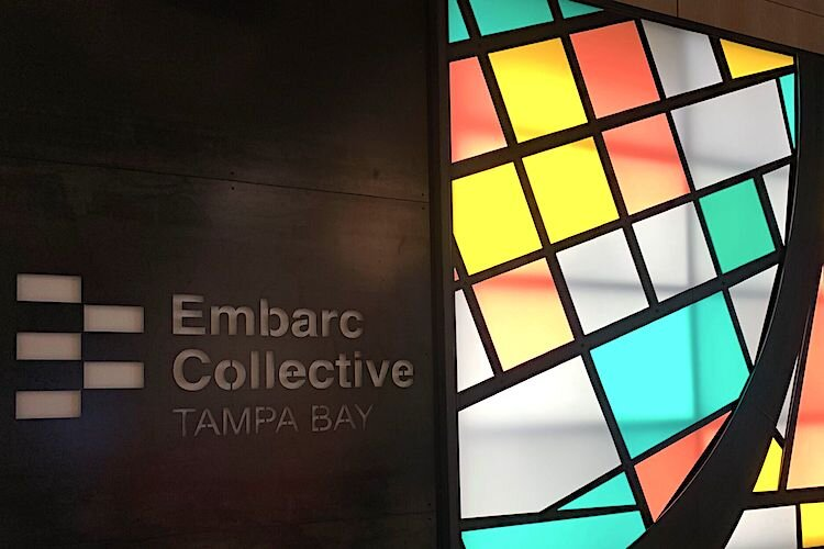The backdrop in the lobby of Embarc Collective, 802 E. Whiting St., in downtown Tampa.