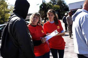 Volunteers gather information about the homeless to achieve as accurate a count as possible.