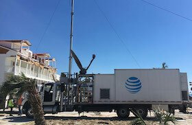 AT&T trucks move in to repair lines following natural disasters.