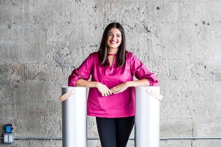 Molekule co-CEO Jaya Rao with the air purifier that kills bacteria, molds, and viruses.