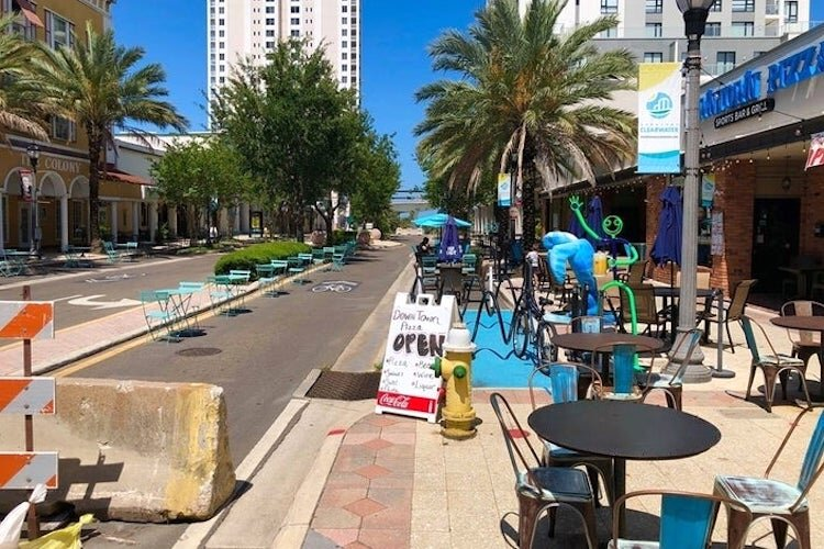A few blocks of Cleveland Street in downtown Clearwater close to enable restaurants to reopen with more outdoor tables.