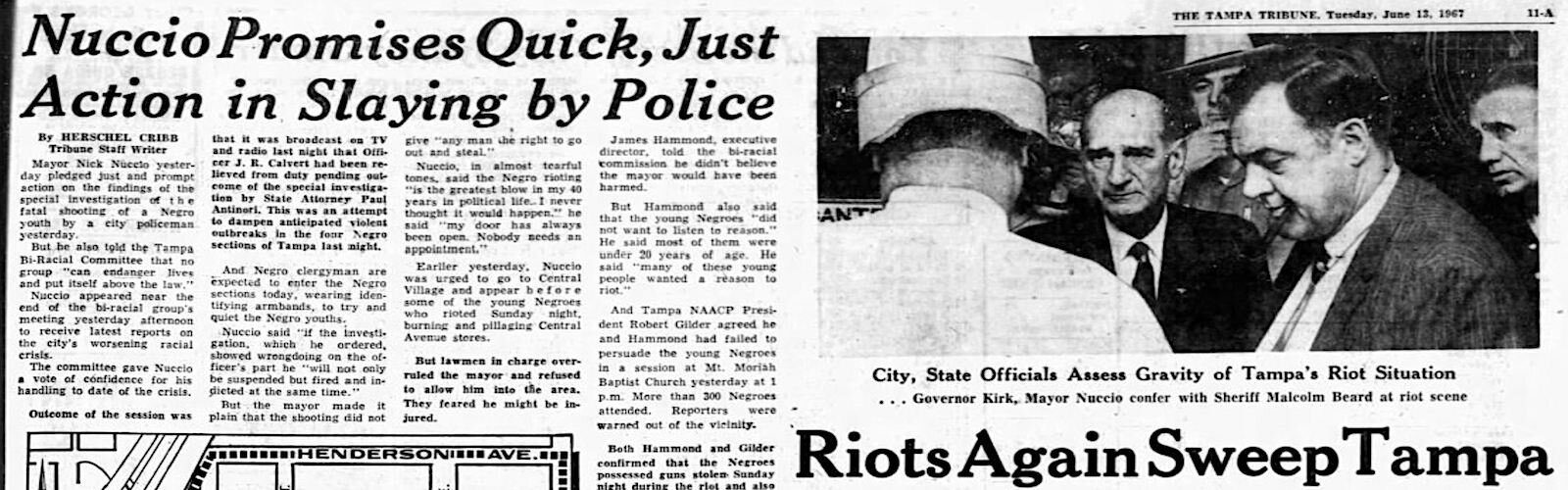 The Tampa Tribune reports on June 1967 riots in Tampa.
