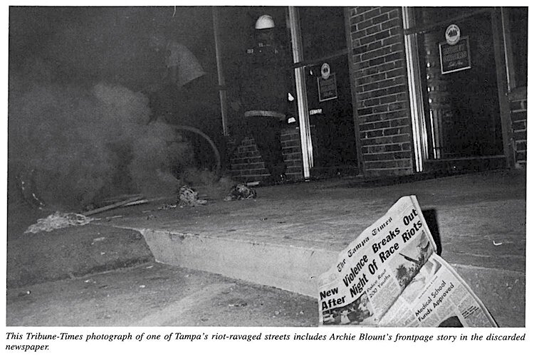 A discarded daily newspaper in the middle of riots in Tampa in 1967.