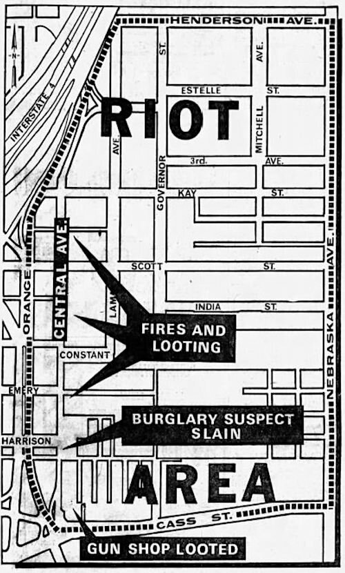 A map showing the area of Tampa where riots occurred in June 1967.