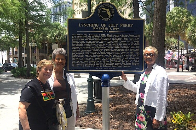 Dr. Julie Armstrong, Mrs. Donna McRae and Attorney Jacqueline Hubbart at the unveiling of the Orlando lynching memorial marker.