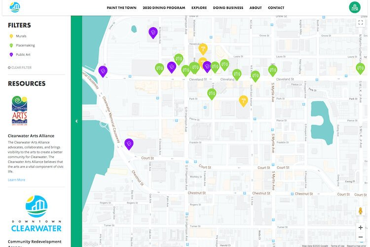 Clearwater's interactive map enables website visitors to see where public arts and cultural landmarks are situated.