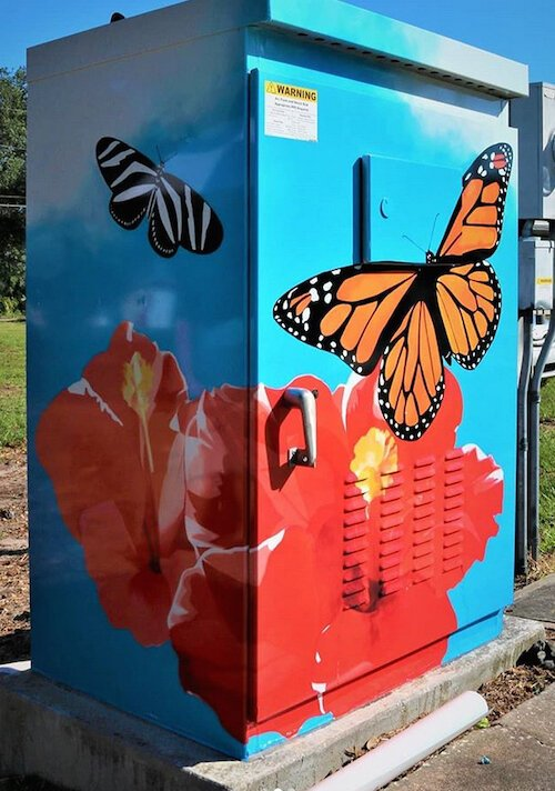 Elizabeth Barenis created the artwork for this signal box at Myrtle Avenue and Lakeview Road with collaboration from the Milton Park Neighborhood Association.