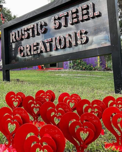 Rustic Steel in Tampa Heights made the metal heart sculpture awards given to Tampa Bay Area COVID-19 heroes.